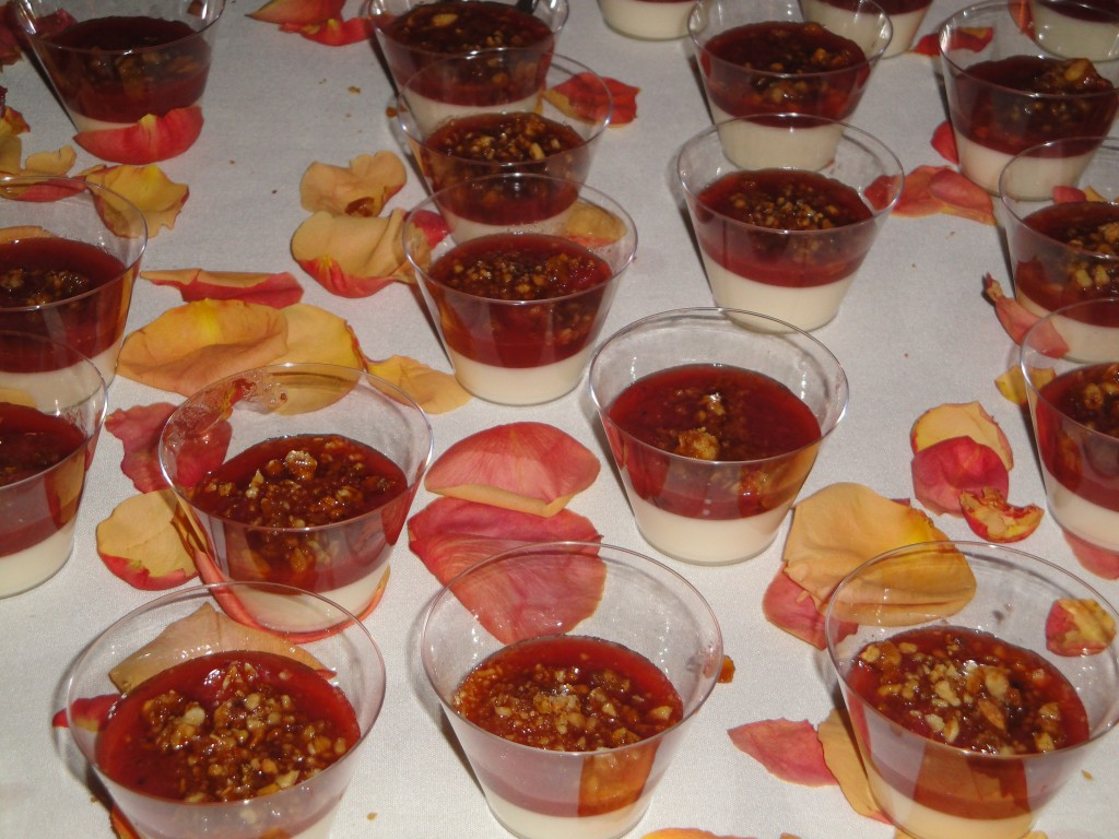 Lime panna cotta, strawberry rubarb jam, pignoli brittle